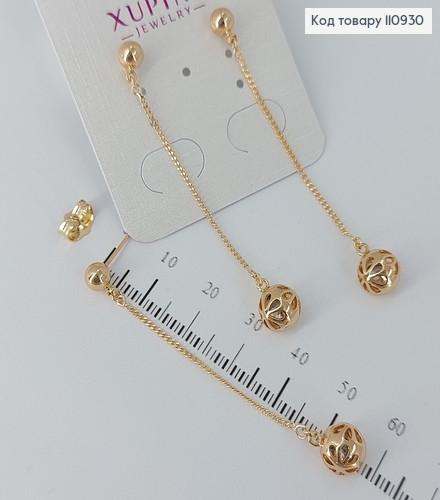 Сережки гвіздки  підвіски  Куля з камінцем   медичне золото Xuping 110930 фото