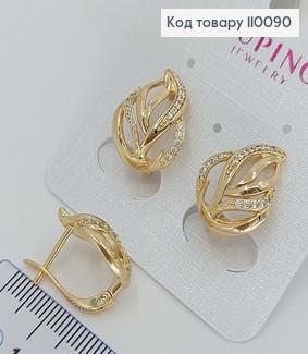 Сережки Листочок з камінцями медичне золото Xuping 110090 фото