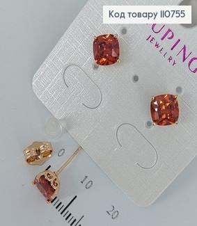 Сережки гвіздки з червоними камінцями  медичне золото Xuping 110755 фото
