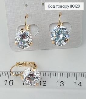 Сережки з великим камнем медичне золото Xuping 110129 фото