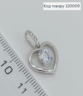 Кулон Серце з камнем 220009 фото