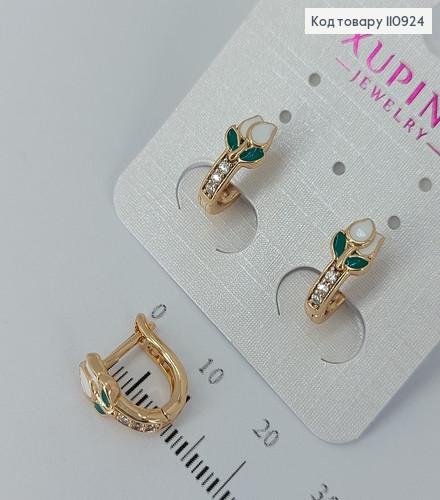 Сережки Білі квіти  медичне золото Xuping 110924 фото