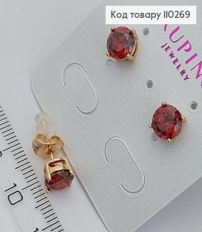 Сережки гвіздки з червоним камнем 110269 фото