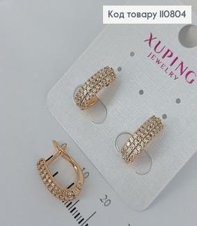 Сережки з камінцями  медичне золото Xuping 110804 фото
