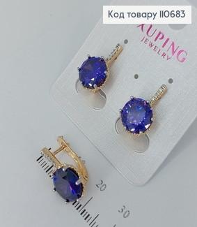 Сережки з фіолетовими камінцями  медичне золото Xuping 110683 фото