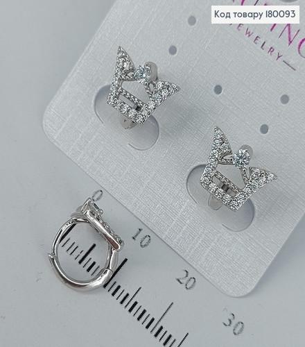 Сережки кільця корона  з камінцями  медичне золото Xuping 180093 фото