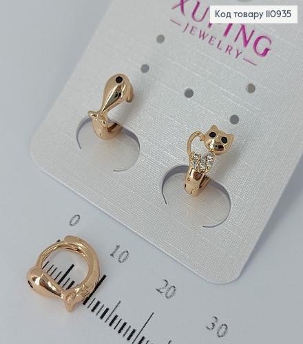 Сережки кільця Дельфін і Котик  медичне золото Xuping 110935 фото