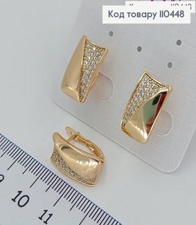 Сережки Діловий стиль з камінцями медичне золото Xuping 110448 фото