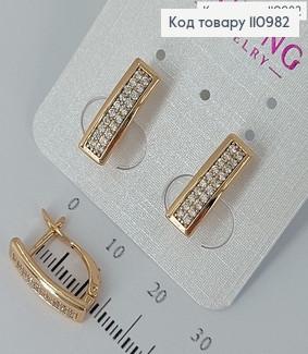 Сережки з камінцями в два ряди   медичне золото Xuping 110982 фото