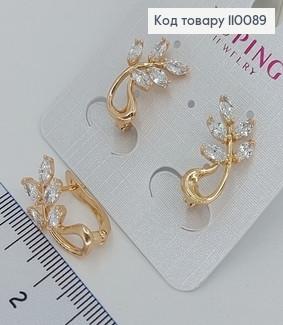 Сережки Листочок з кольоровими камінцями медичне золото Xuping 110088 фото