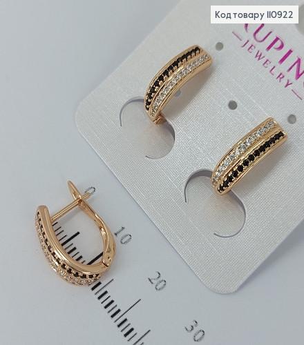 Сережки з чорними  камінцями  медичне золото Xuping 110922 фото
