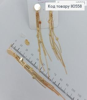 Сережки гвіздочки  підвіски  з пластинками медичне золото Xuping 110558 фото