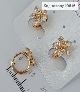 Сережки Кільця Квіточка з камінцями  медичне золото Xuping 110646 фото