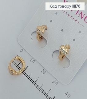 Сережки кільця з сердечком з камінцями  медичне золото Xuping 111178 фото
