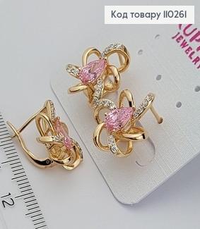 Сережки Квіточка з рожевим камнем 110261 фото