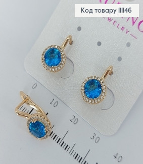 Сережки з блакитними  камінцями  медичне золото Xuping 111146 фото
