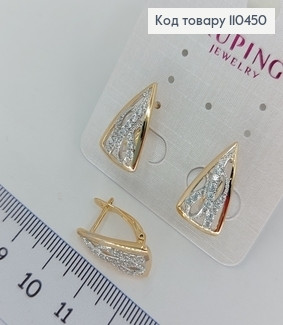 Сережки Трикутники з камінцями  медичне золото Xuping 110450 фото