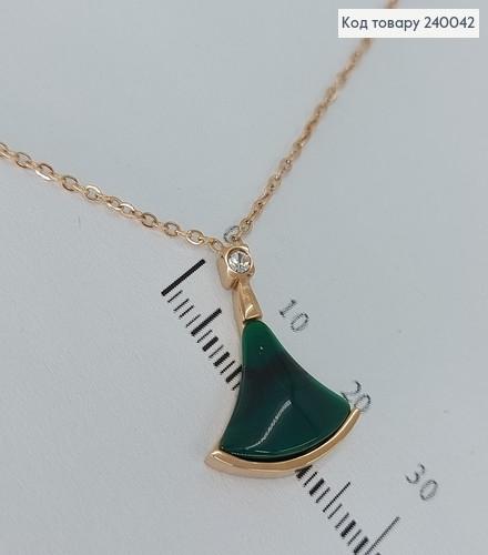 Підвіска зелений камінь з цепочкою 40+5см Staіnless Still 240042 фото
