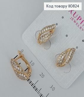 Сережки з камінцями  медичне золото Xuping 110824 фото