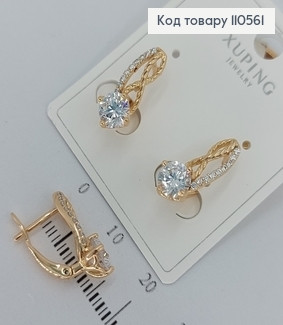 Сережки з камінцями  медичне золото Xuping 110561 фото