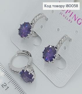 Сережки з фіолетовим камнем 180058 фото