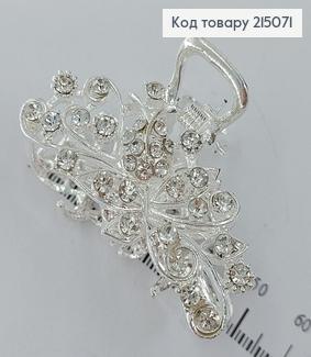 Краб метал Квіточка з листочками срібний з камінцями 215071 фото