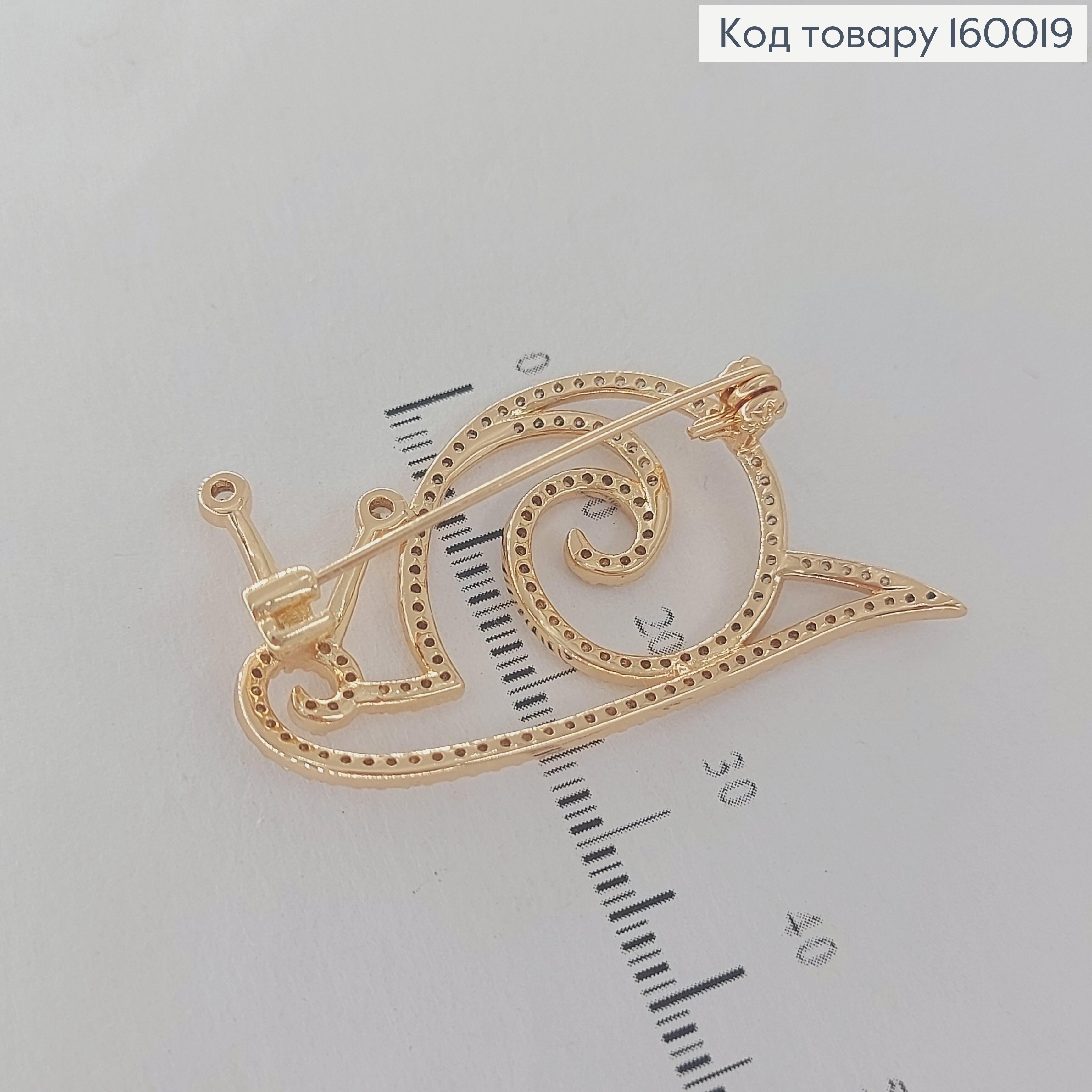 Брошка Равлик   з камніцями медичне золото 18К  Xuping 160019 фото 2
