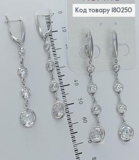 Сережки підвіски з камінцями  родіроване медзолото Xuping 180250 фото
