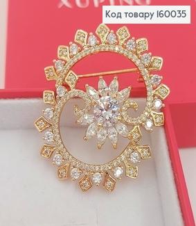 Брошь Солнышко с камнями медицинское золото Xuping 18к 160035 фото