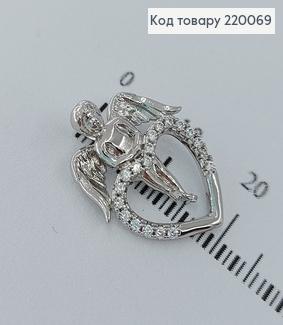 Кулон  Ангел с серцем в камнях родированое  медицинское золото Xuping 18K 220069 фото