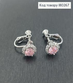 Сережки кліпси квіточка  з рожевим камінцем  родіроване медзолото Xuping 180267 фото