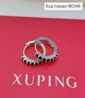 Сережки кільця з чорними  камінцями  родоване медзолото Xuping 180346 фото