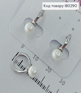 Сережки кільця з перлинкою родіроване  медзолото Xuping 180290 фото
