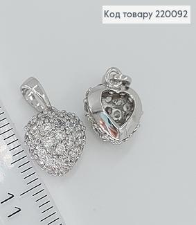 Кулон Серце в камінцях 1,2*1см родоване медзолото Xuping 220092 фото