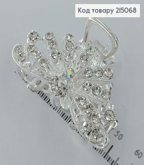 Краб метал Павлін срібний з камінцями 215068 фото