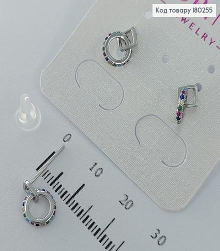 Сережки гвіздки    з різнокольоровими камінцями  родіроване медзолото Xuping 180255 фото 1