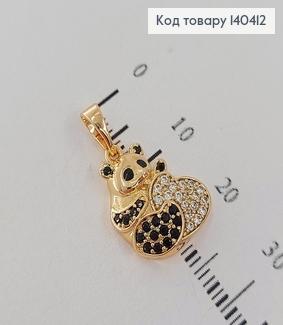 Кулон Закоханий ведмедик з сердечком в камінцях  медичне золото Xuping  140412 фото
