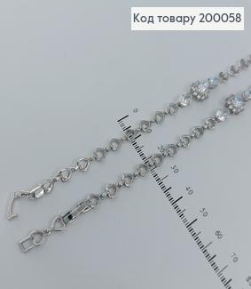 Браслет з камінцями 20,5см родірований  медзолото Xuping 200058 фото