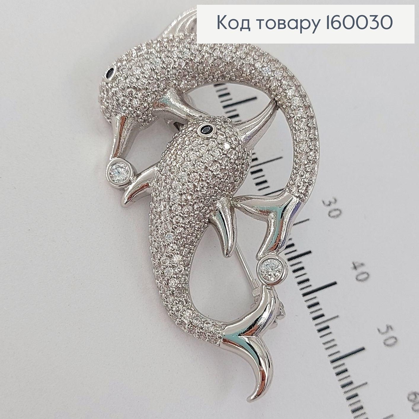 Брошка Дельфіни   в камінцях медичне золото  Xuping 18к 160030 фото 2