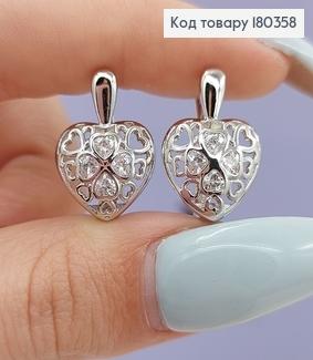 Сережки Ажурне сердечко з камінцями родоване медзолото Xuping 180358 фото
