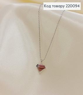 Подвеска Сердце с камнем 45 + 5 см родироване медзолото Xuping 220094 фото