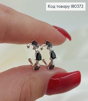 ¶Серьги на хрящ с черными камнями родированным медзолото Xuping 180372 фото