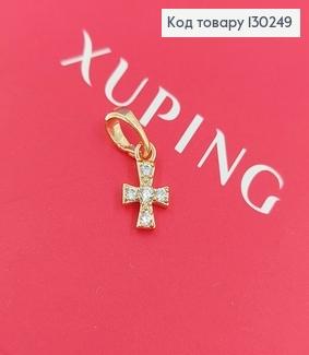 Хрестик 0,6х1см з камінцями медзолото Xuping 18K 130249 фото