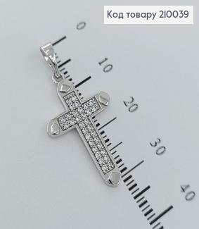 Хрестик  з камінцями 2,5х1,5см родірований  Xuping  210039 фото