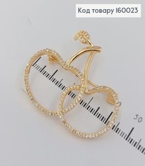 Брошка вишенька в камінцях медичне золото  Xuping 18к 160023 фото