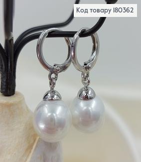 Сережки кільця з перлинкою  медзолото  Xuping 180362 фото