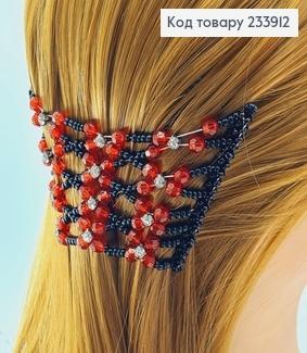 Заколка Монтера для волосся чорна з червоною квіточкою 233912 фото