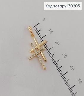 Хрестик подвійний з камінцями медсплав Xuping   130205 фото