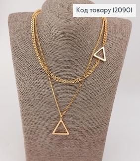Подвеска двойная Треугольники медицинское золото Xuping 18 К 140420 фото