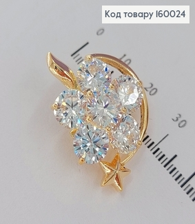 Брошка місяць з зіркою в камінцях медичне золото  Xuping 18к 160024 фото